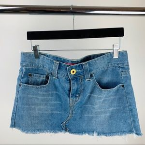 Levi's denim mini skirt.